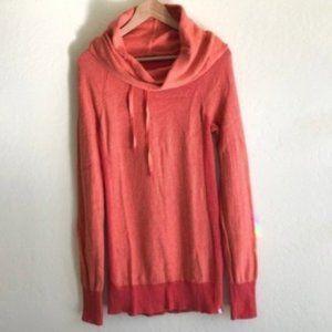 Eddie Bauer Coral Collared Orange Sweater Tall M